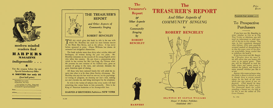 Treasurer's Report and Other Aspects of Community Singing, The. Robert Benchley, Gluyas Willams.