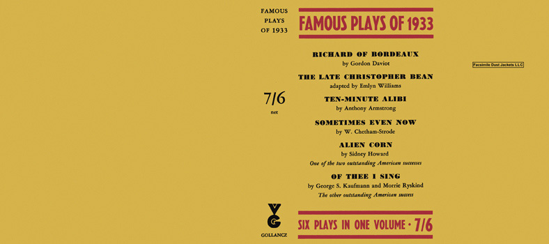 Famous Plays of 1933. Anthology.
