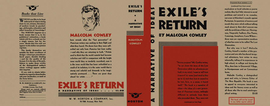 Exile's Return, A Narrative of Ideas. Malcolm Cowley.