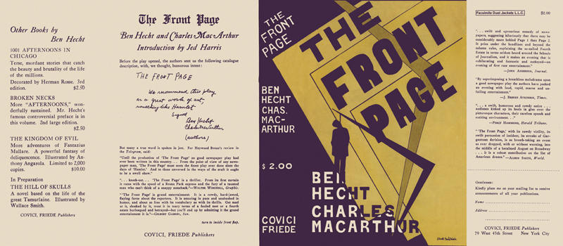 Front Page, The. Ben Hecht, Charles MacArthur.