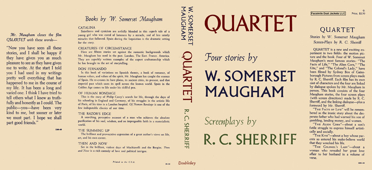 Quartet, Four Stories by W. Somerset Maugham and Screenplays by R. C. Sherriff. W. Somerset...