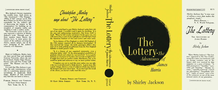 Lottery, The Adventures of James Harris, The. Shirley Jackson