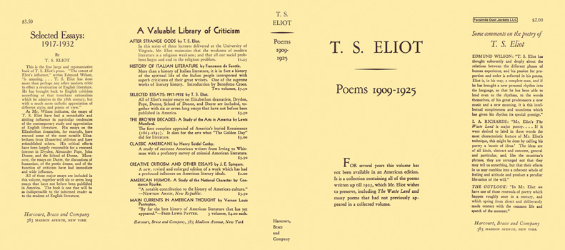 Poems 1909-1925. T. S. Eliot