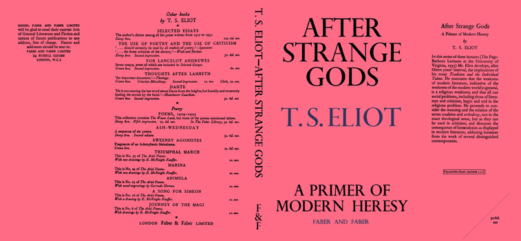 After Strange Gods. T. S. Eliot