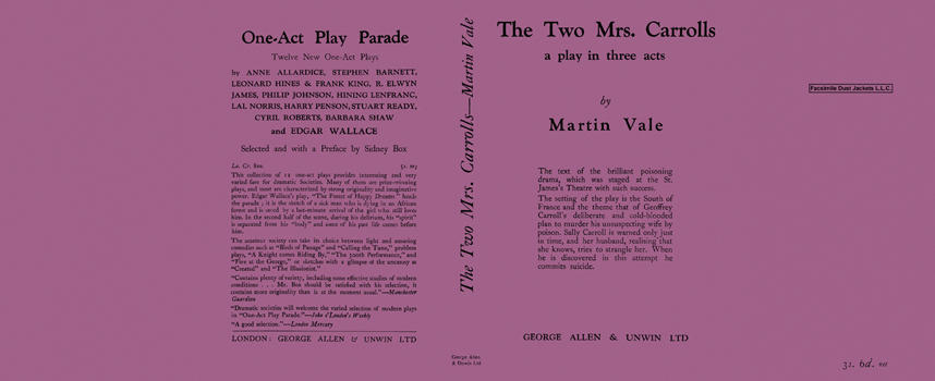 Two Mrs. Carrolls, A Play in Three Acts, The. Martin Vale
