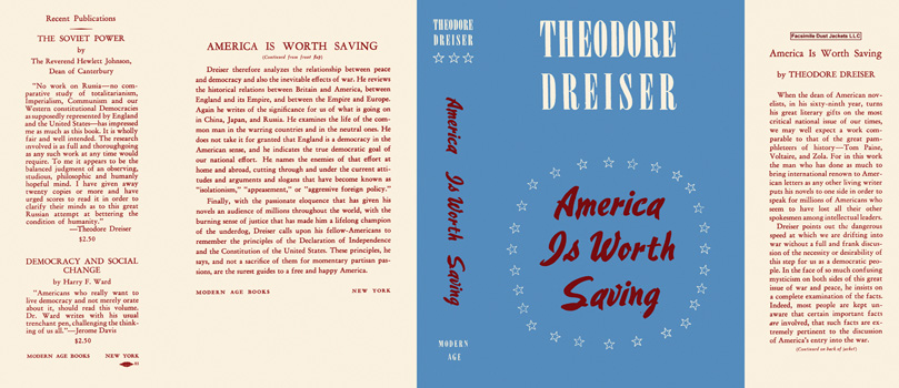 America Is Worth Saving. Theodore Dreiser