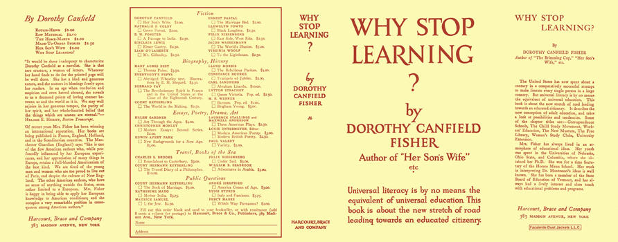 Why Stop Learning? Dorothy Canfield Fisher