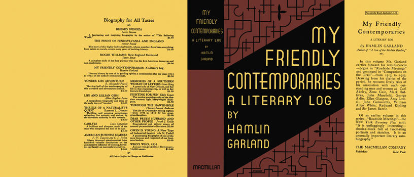 My Friendly Contemporaries, A Literary Log. Hamlin Garland.