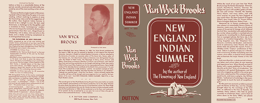New England: Indian Summer. Van Wyck Brooks