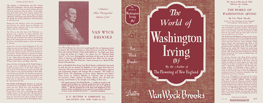 World of Washington Irving, The. Van Wyck Brooks.