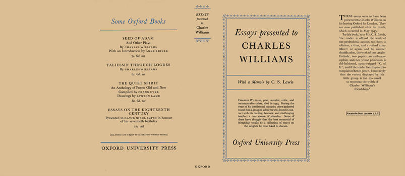 Essays Presented to Charles Williams. C. S. Lewis.