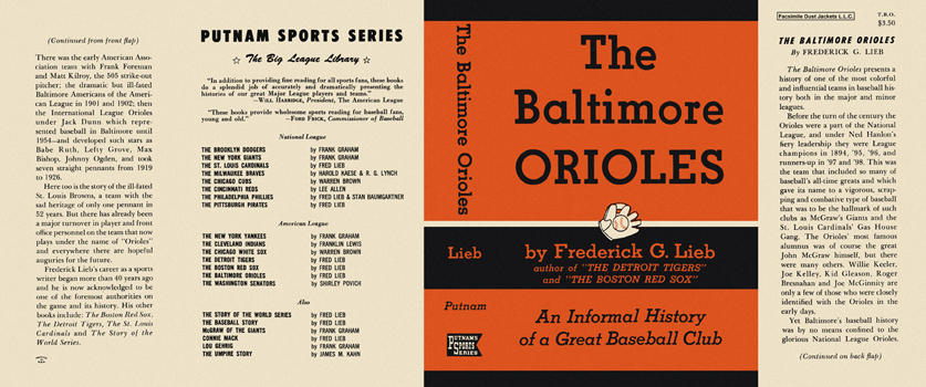 Baltimore Orioles, The. Frederick G. Lieb