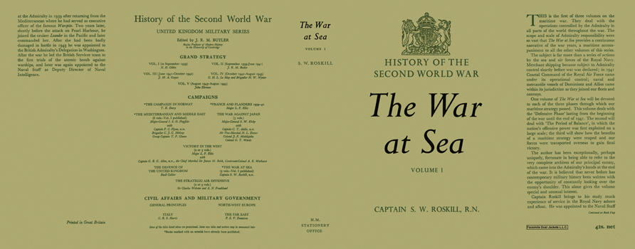 War at Sea: Volume 1, The. Captain S. W. Roskill