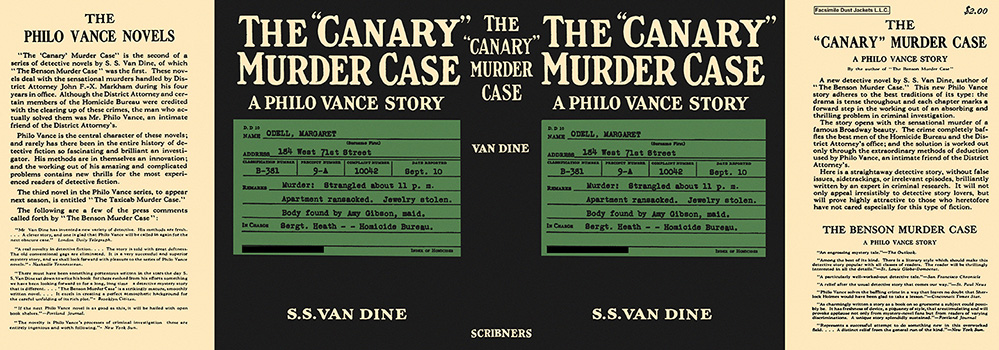 """Canary"" Murder Case, The. S. S. Van Dine."
