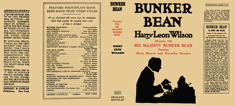"Bunker Bean (photoplay title ""His Majesty Bunker Bean""). Harry Leon Wilson"
