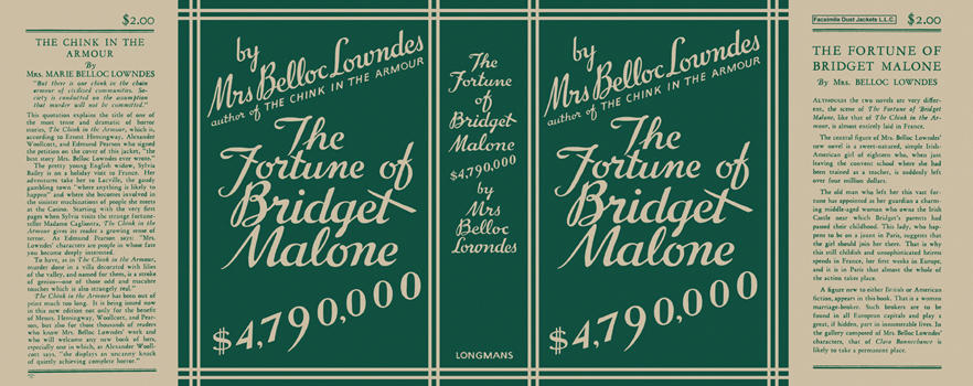 Fortune of Bridget Malone, $4,790,000, The. Mrs. Marie Belloc Lowndes.