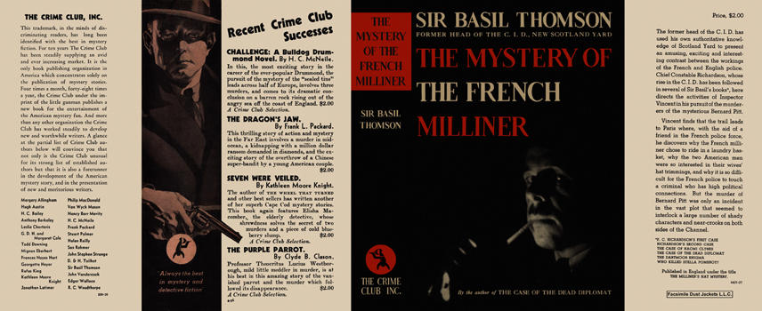 Mystery of the French Milliner, The. Sir Basil Thomson.