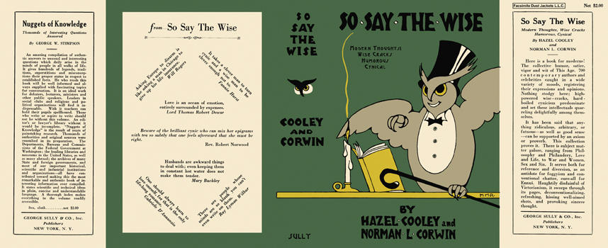 So Say the Wise. Hazel Cooley, Norman Corwin.