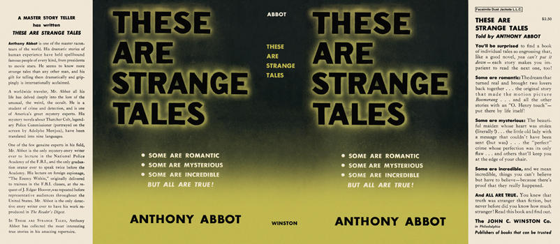 These Are Strange Tales. Anthony Abbot