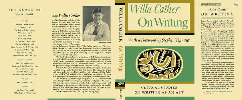 On Writing. Willa Cather.
