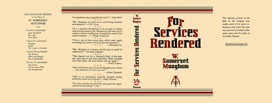 For Services Rendered. W. Somerset Maugham