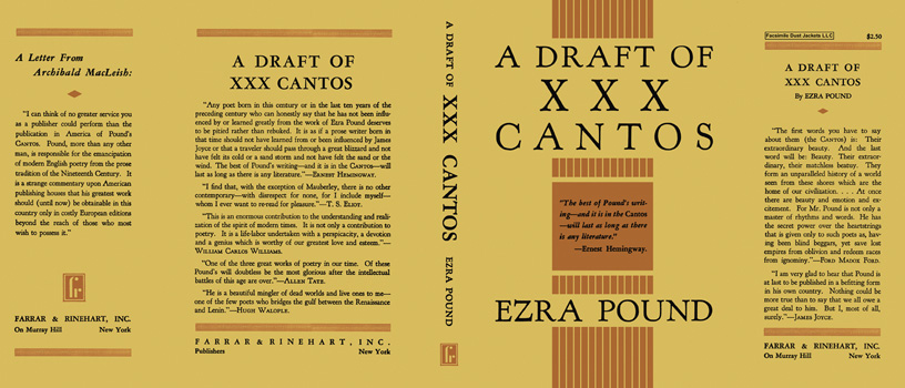 Draft of XXX Cantos, A. Ezra Pound.