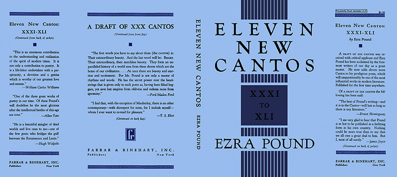 Eleven New Cantos, XXXI to XLI. Ezra Pound.